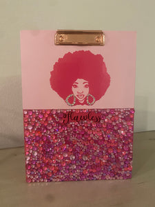 (New) Afro Beauty - Pink Bling Clipboard Portfolio