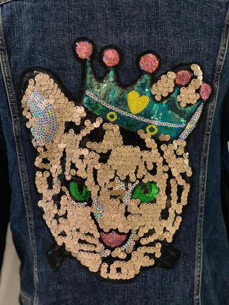 "(New) Queen Lioness - Custom  ""Reworked""  Denim Jacket Plus Size 2X"