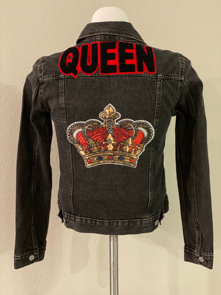 "(New) Queen - Custom  ""Reworked"" Denim Jacket Juniors Size Large"