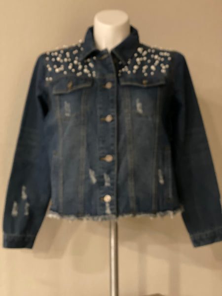 "(New) Queen Lioness - Custom  ""Reworked""  Pearl Denim Jacket Plus Size 1X"