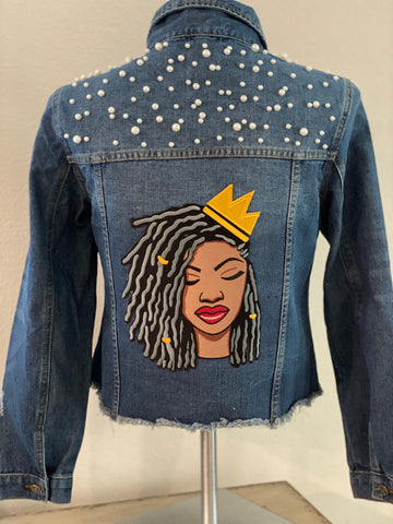 "(New) Queen Locs - Custom ""Reworked"" Pearl Denim Jacket Plus Size 1X"
