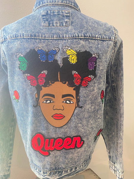 "(New) Queen Butterfly - Custom  ""Reworked""  Denim Jacket Juniors Size Large"