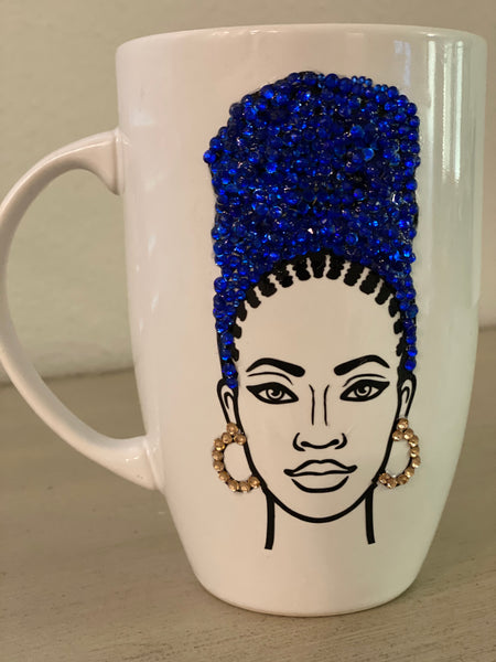(New) Wrap Beauty Blue - Large Bling Coffee Mug