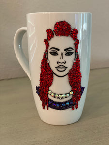 (New)Red Braided Beauty - Large Bling Coffee Mug