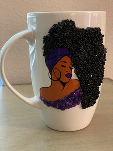 (New) Black Queen - Large Purple Bling Coffee Mug