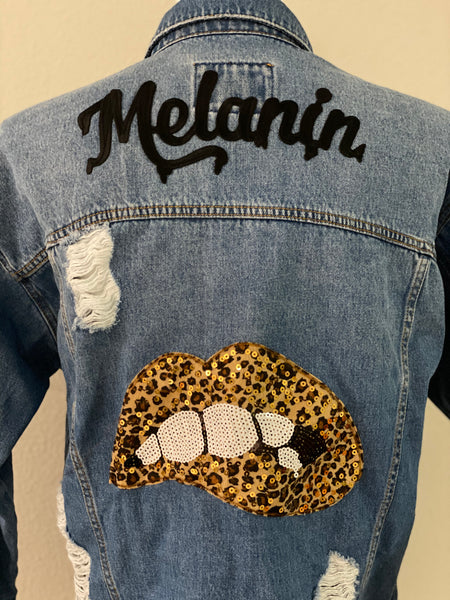 "(New) Melanin - Custom ""Reworked"" Denim Jacket Juniors Size Large"