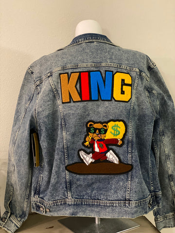 "(New) King Hype Bear- Custom ""Reworked"" Denim Jacket Men's Size XL"