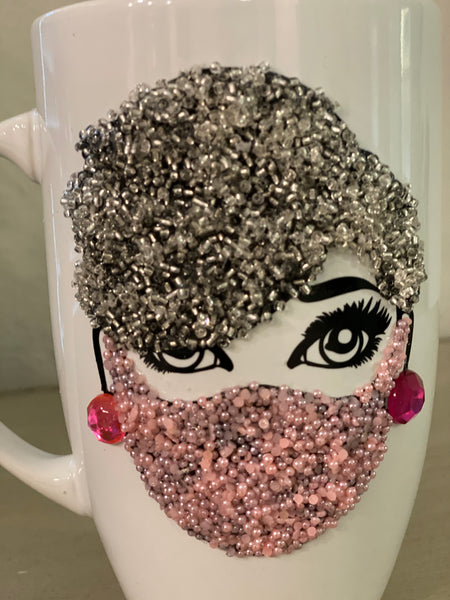 (New) Masked Beauty - Pink Bling Coffee Mug