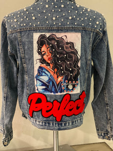 "(New) Perfect -Custom  ""Reworked""  Denim Pearl Jacket Juniors Size XL"