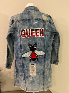 "(New) Queen Bee - Custom ""Reworked""  Denim Jacket Plus Size 1X"