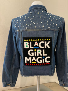 "(New) Black Girl Magic - Custom  ""Reworked""  Denim Jacket Plus Size 1X"