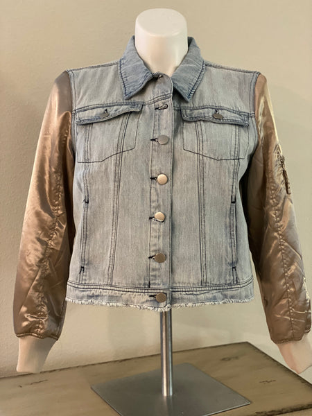"(New) B- Bear - Custom  ""Reworked""  Denim Jacket Ladies Size Large"
