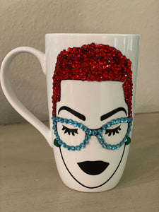(New) Short-Cut Red Beauty - Large Bling Coffee Mug