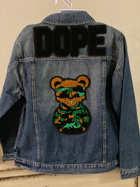 "(New) Dope Bear - Custom ""Reworked"" Denim Jacket Boys Size Large (14)"