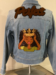 "(New) Fix My Crown - Custom  ""Reworked""  Denim Jacket Plus Size 2X"