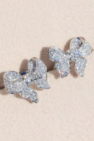Knotted Bow White Sapphire Stud Earrings