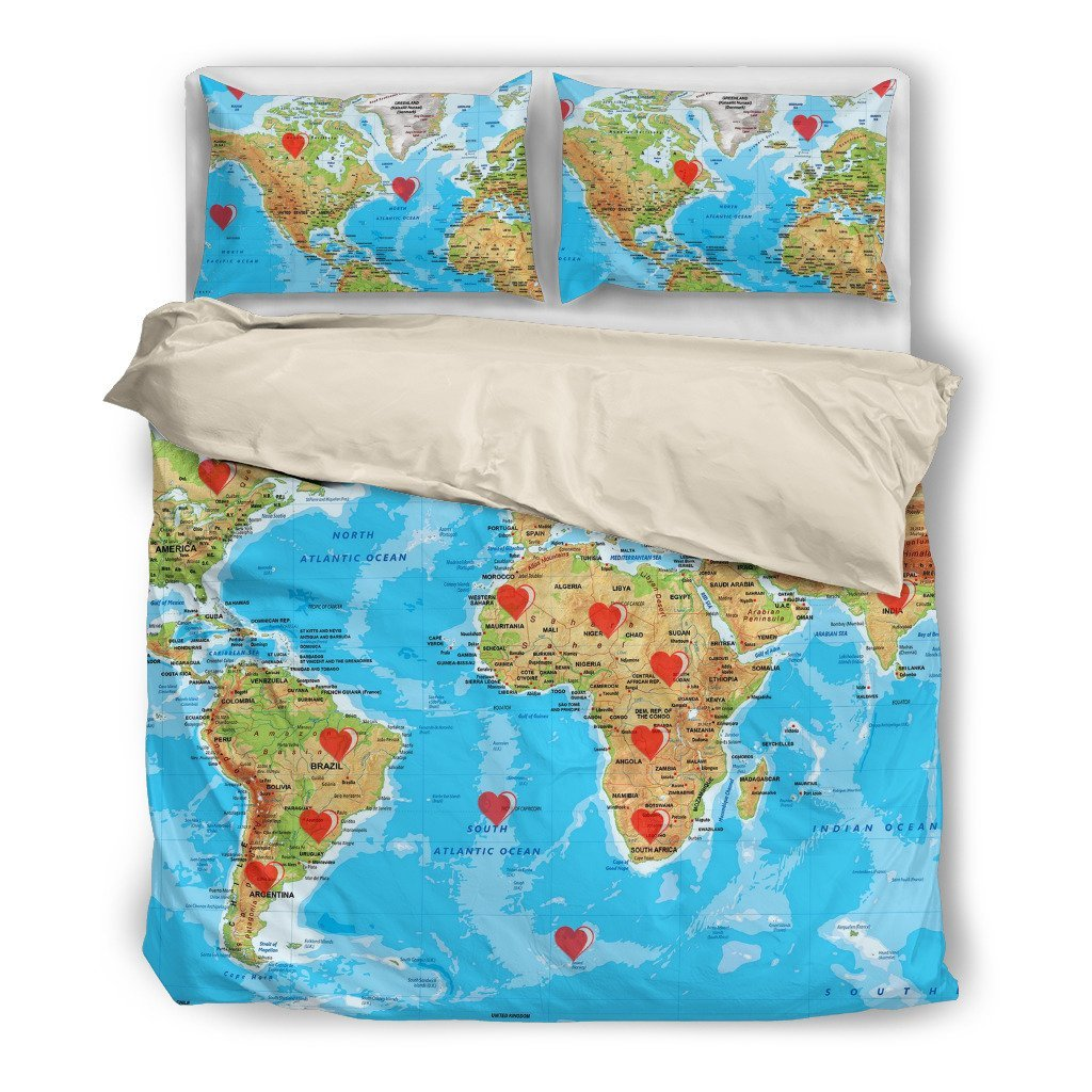 Valentines day special world map print bedding set free shipping gumiabroncs Image collections