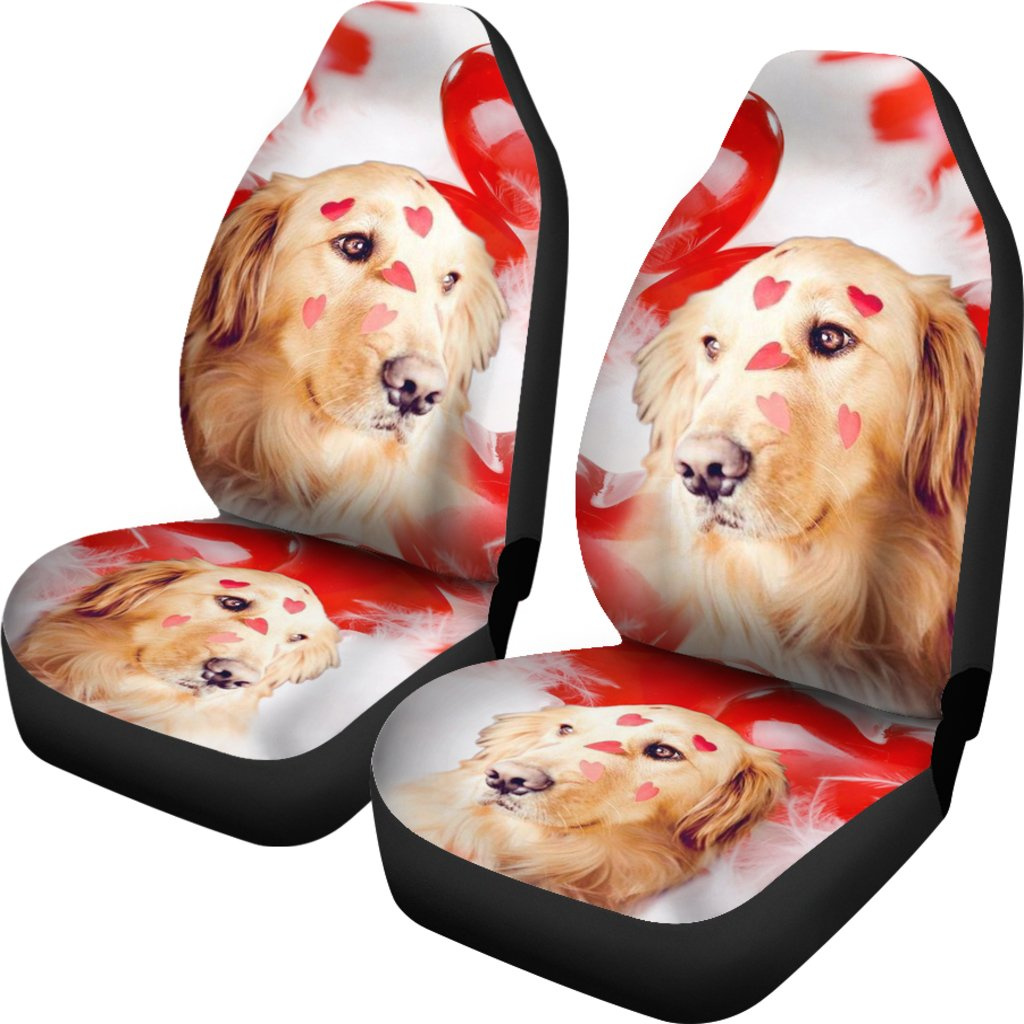 Golden Retriever With Heart Print Car Seat Covers Free Shipping