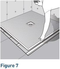 Using a 10mm notched trowel apply the flexible, cr- ment-based tile adhesive to the floor then fix the shower tray in place using a tamping motion to ensure no voids remain underneath