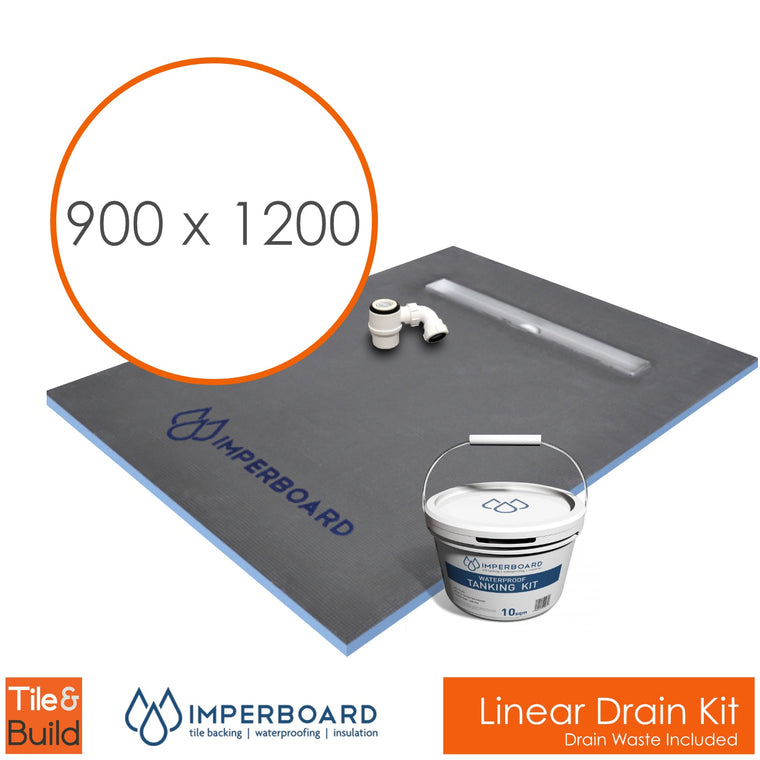 Linear drain wetroom shower Kit 900 x 1200 by Imperboard