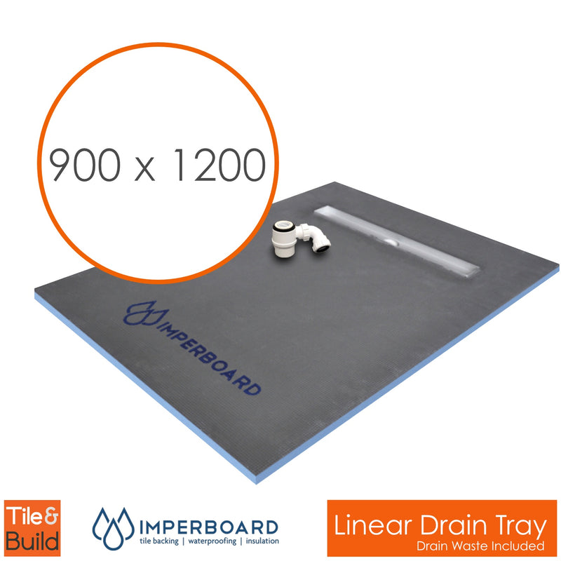 900 x 1200 x 30mm Linear channel drain wet room shower tray former - Imperboard