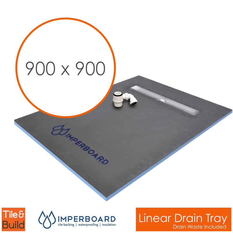 900 x 900 x 30mm Linear channel drain wetroom shower tray former - Imperboard