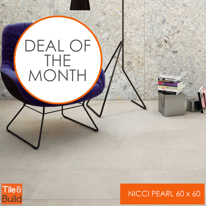Nicci Pearl white Italian Porcelain 60x60 floor and wall tiles