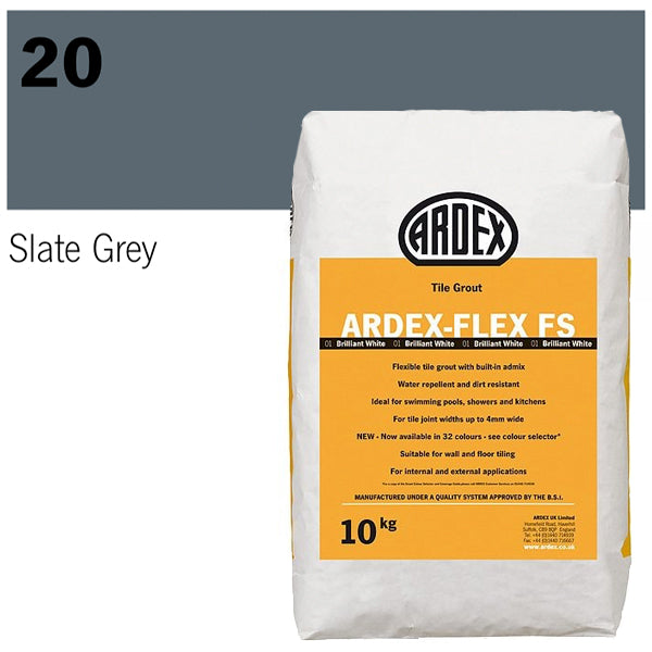 Ardex-Flex FS Flexible tile grout 10kg 20 Slate Grey