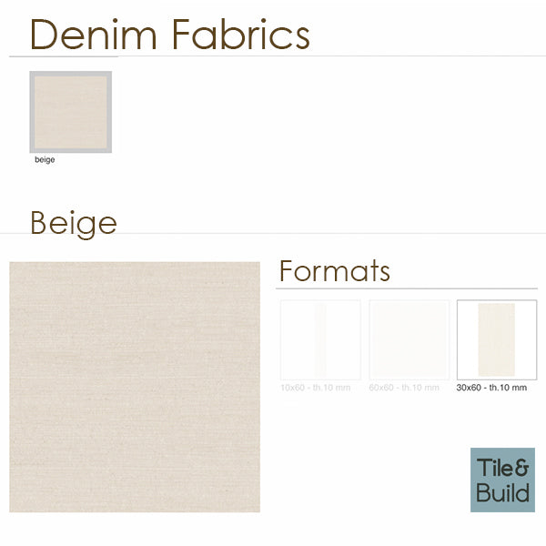 Denim Fabric Beige (30 x 60) Porcelain large format wall floor tile