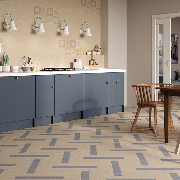 Denim Fabric Beige (60 x 60) Porcelain large format wall floor tile