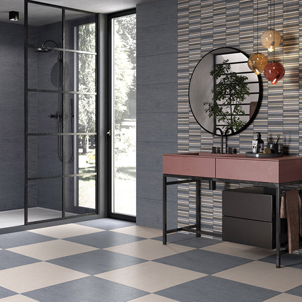 Denim Fabric Blue (30 x 60) Porcelain large format wall floor tile