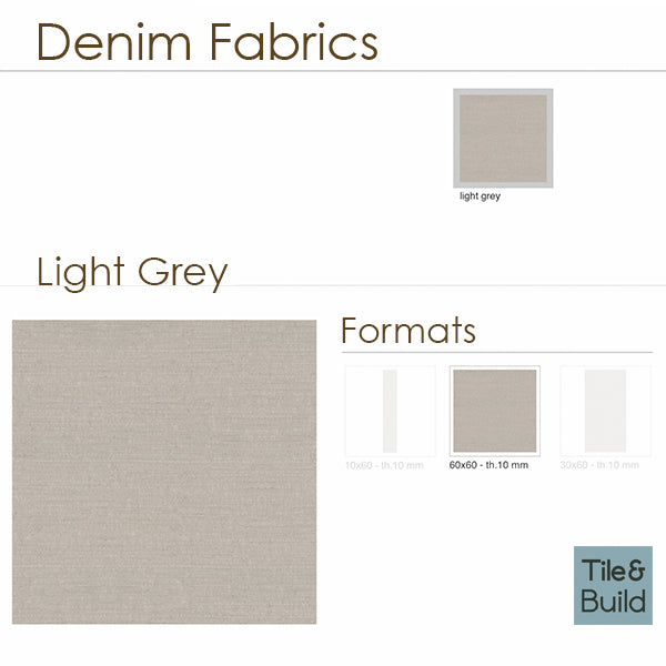 Denim Fabric Light Grey (60 x 60) Porcelain large format wall floor tile