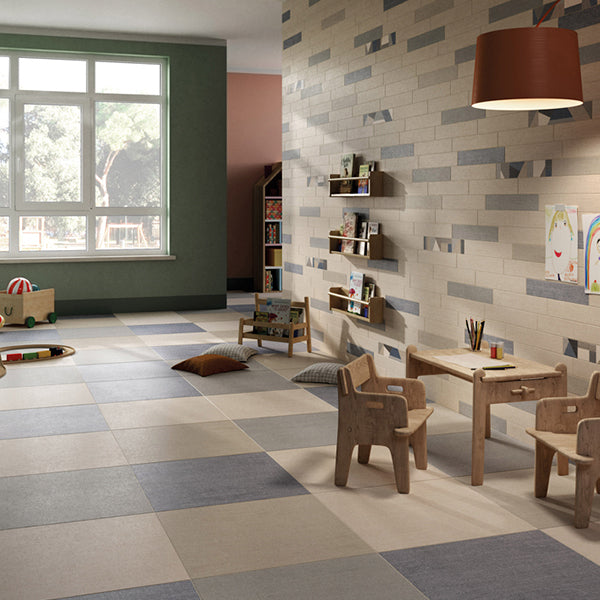 Denim Fabric Blue (60 x 60) Porcelain large format wall floor tile