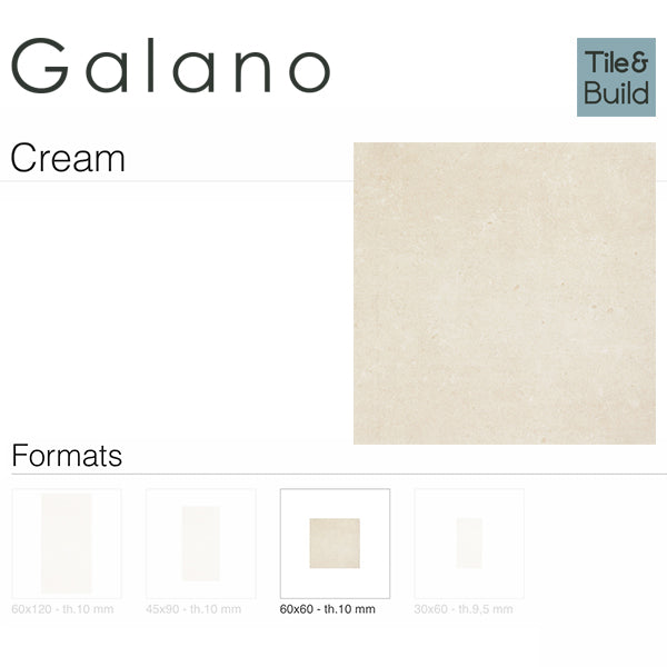 Galano Cream (60 x 60) Porcelain large format wall floor tile