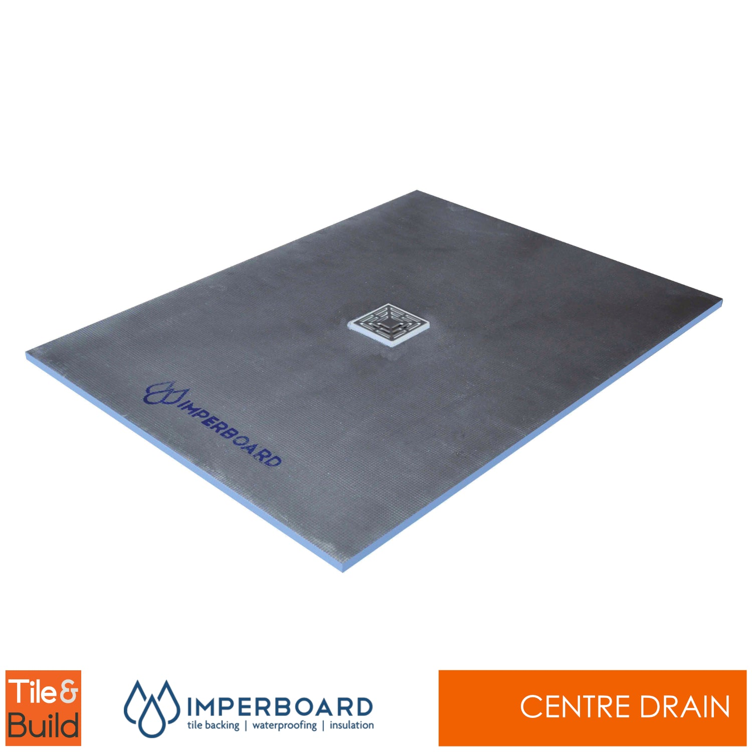 1200 x 1000 x 20mm Rectangular Centre Drain wetroom shower Tray - Imperboard
