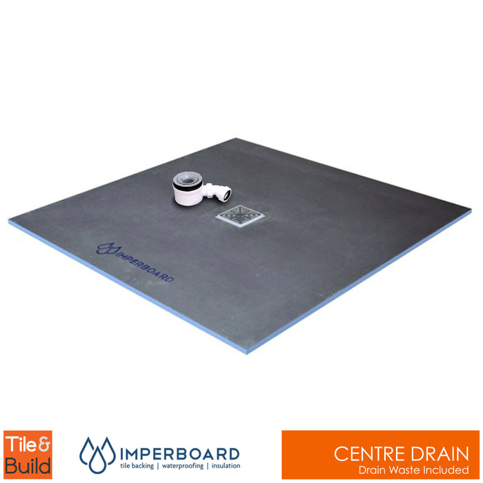 1000 x 1000 x 20mm Centre Drain Square wetroom shower Tray - Imperboard