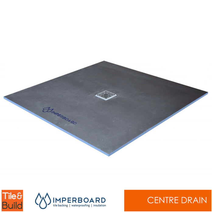 800 x 800 x 20mm Centre Drain Square wetroom shower Tray - Imperboard