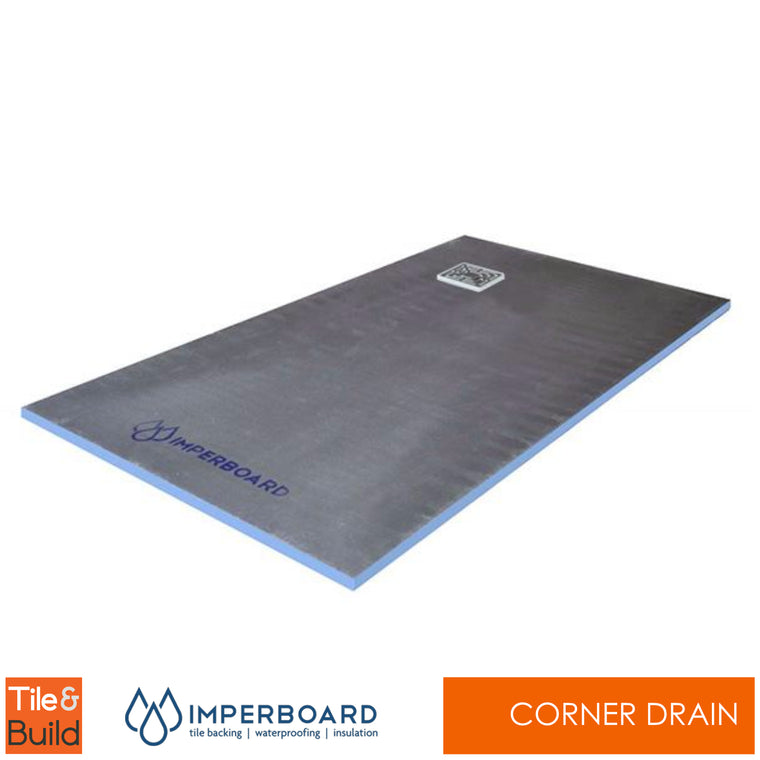 1200 x 900 x 20mm corner drain wetroom shower tray by Imperboard