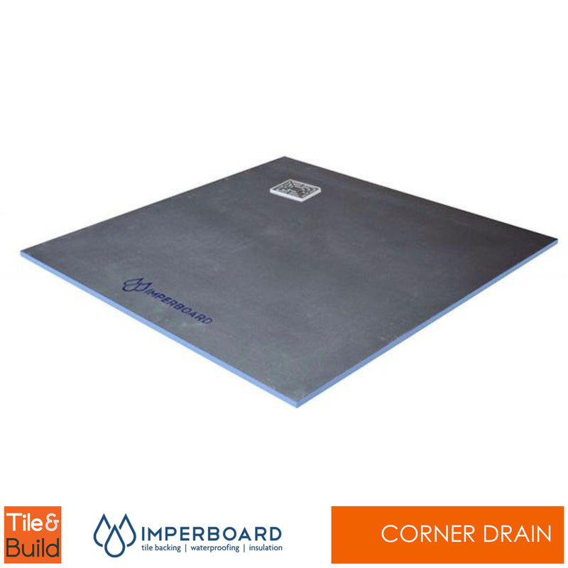 900 x 900 x 20mm Corner Drain Square wetroom shower Tray - Imperboard