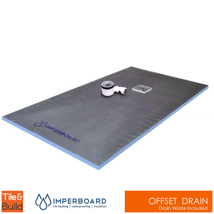 800 x 1500 x 20mm Offset Drain Rectangular wetroom shower Tray - Imperboard