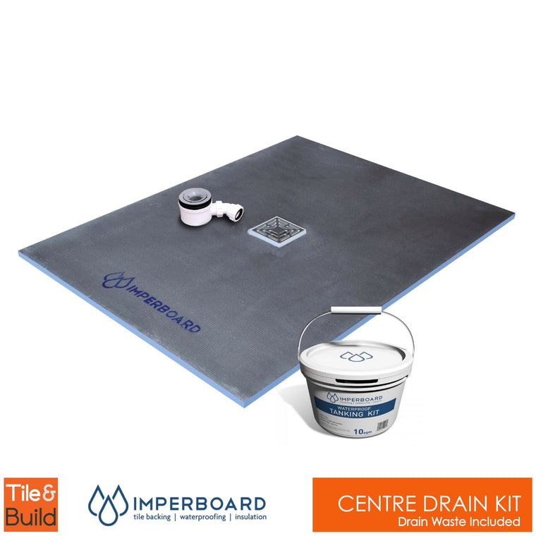 Centre drain wetroom shower Kit by Imperboard
