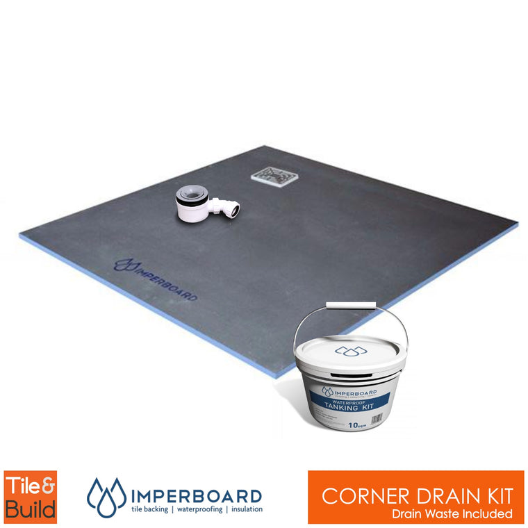 Corner drain wetroom shower Kit by Imperboard