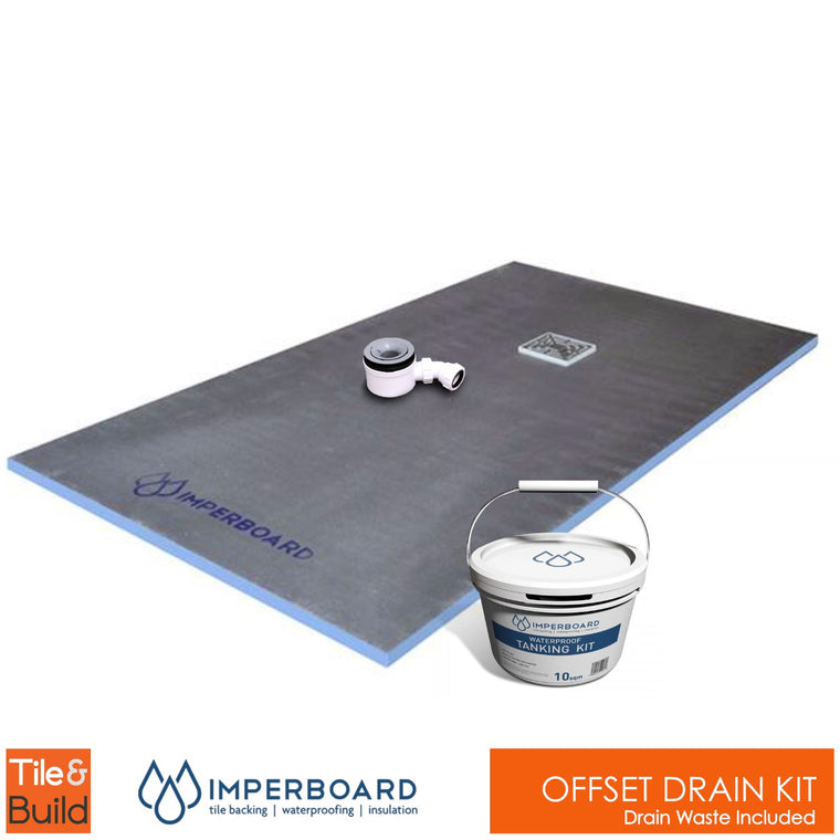 Offset drain wetroom shower Kit by Imperboard
