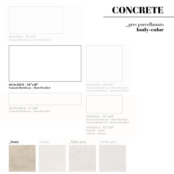 Fioranese Concrete Ivory (60.4 x 120.8) large format tile