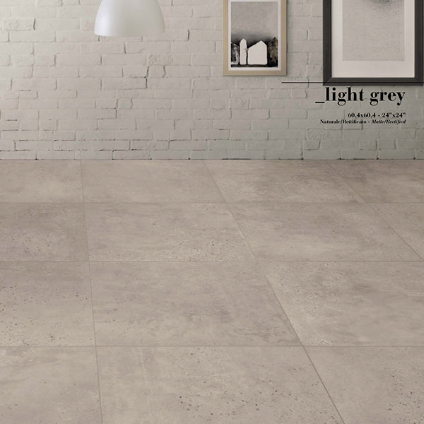 Fioranese Concrete Light Grey (45.3 x 90.6) large format tile