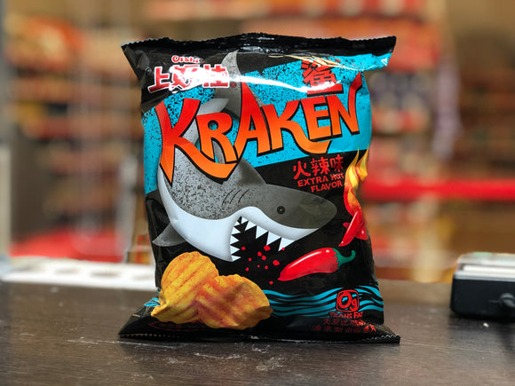 上好佳 鲨波浪型田园薯片 火辣味 Oishi Kraken Potato Chips Extra Hot Flavour 60g