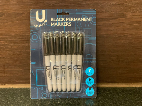 U.mark 黑色油性笔7支装 7Pk Black Permanent Markers