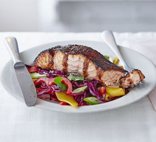 Sticky Jerk Salmon with Mango Slaw