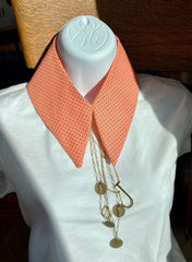 Layering shirt collar in a vintage swiss dot flocked print in a lovely peach color with muted green dots.