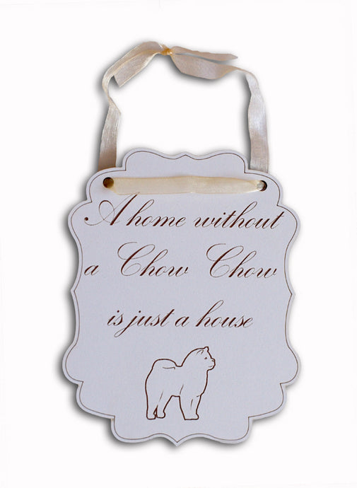 Chow Chow Wall Plaque - White